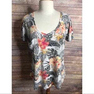 Z Supply tropical floral print v neck pocket shirt